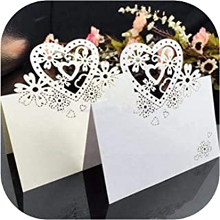 25Pcs/Lot Guest Name Place Invitation Cards Favor Decoration Wedding Love Heart Laser Cut Wedding Party Card Table Wine June12,White,OneSize