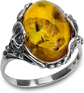 خاتم بيضاوي من الفضة الإسترليني البلطيقي من شركة إيان آند فاليري
