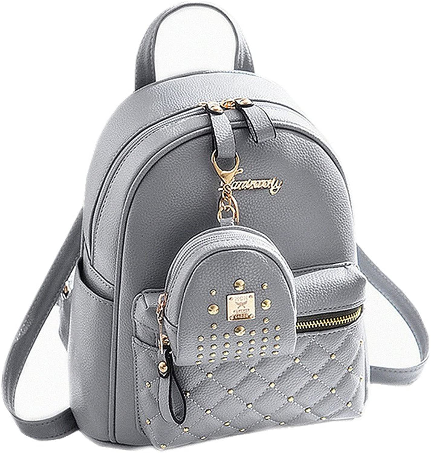 Cute Small Backpack Mini Purse Casual Daypacks Leather for Teen Girls and Women (Grey)