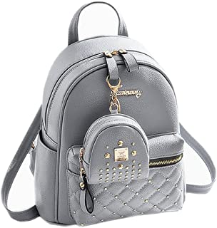 e28e0d46b1 Cute Small Backpack Mini Purse Casual Daypacks Leather for Teen and Women  Gray