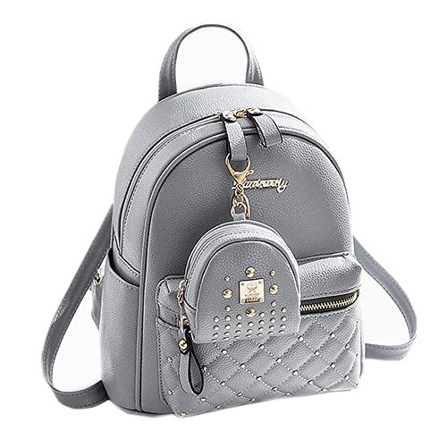 Cute Small Backpack Mini Purse Casual Daypacks Leather for Teen and Women  Gray bdcfa1ee4cf2f