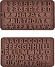 Prokitchen Silicone Letter Number Mold for Baking Chocolate Fondant Cake Decoration Brown Color Set of 2