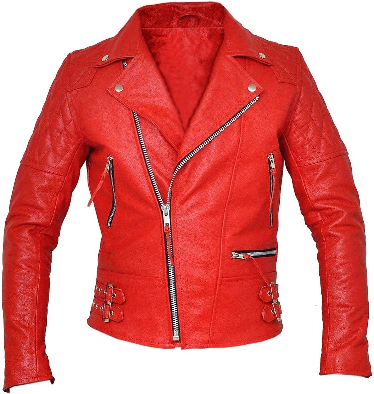 Mens Brando Motorcycle Vintage Cafe Racer Biker Red Leather Jacket
