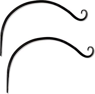 Gray Bunny Hand Forged Curved Hook, 14 Inch, Set of 2, Black, Beautiful Outdoor Mounted Upturned Hook for Bird Feeders, Plants, Lanterns, Wind Chimes, As Wall Brackets and More!