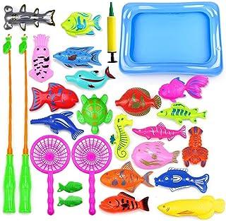 Amasawa 28 Piezas Juego de Pesca Magnética,Juguete de Pesca,Baño Infantil y Juguetes de Piscina y Baño,Juguete Playero Edu...