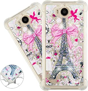 HMTECHUS Huawei Y5 2017 case 3D Pattern Quicksand Diamonds Floating Glitter Flowing Liquid Shockproof Protect Silicone Cover for Huawei Y5 2017 / Y5 II 2017 / Y6 2017 Bling Eiffel Tower YB