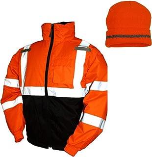 Tingley Bomber II Hi-Vis Orange Jacket J26119 Winter Safety with Hi-Vis Orange Winter Weather Beanie Hat (XL)