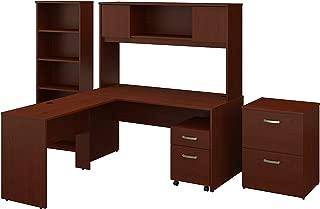 Bush Furniture Commerce 60W L Shaped Desk with Hutch, File Cabinets and Bookcase in Autumn Cherry