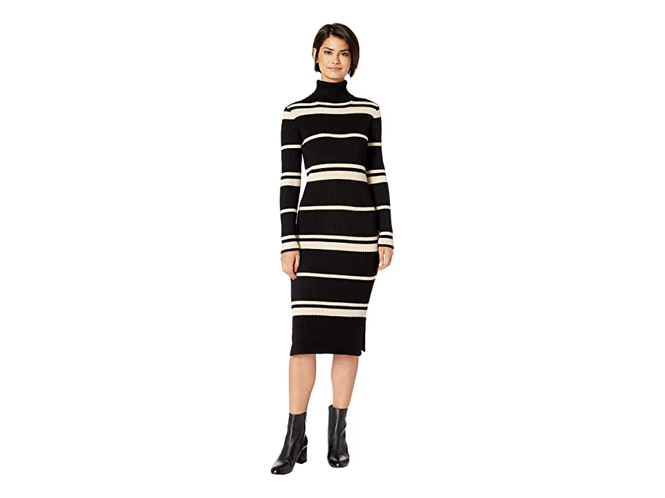 J.O.A. Striped Sweater Dress (Black/Cream) Women