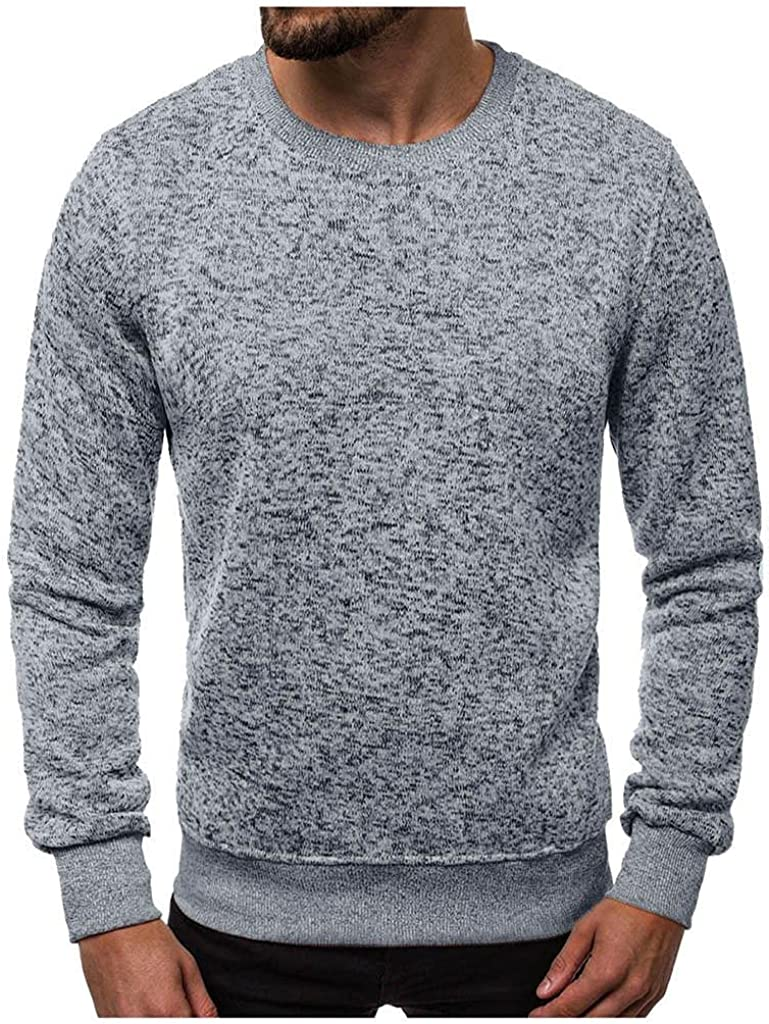 JSPOYOU Men's Long Sleeve Shirt Top Autumn Crewneck Solid Color Blouse Plus Size Soft Breathable Pullover