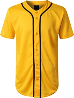 URBANCREWS Mens Hipster Hip Hop Button-Down Baseball Jersey Short Sleeve Shirt