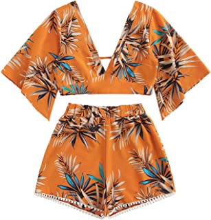 Women's 2 Piece Boho Butterfly Sleeve Knot Front Crop Top...