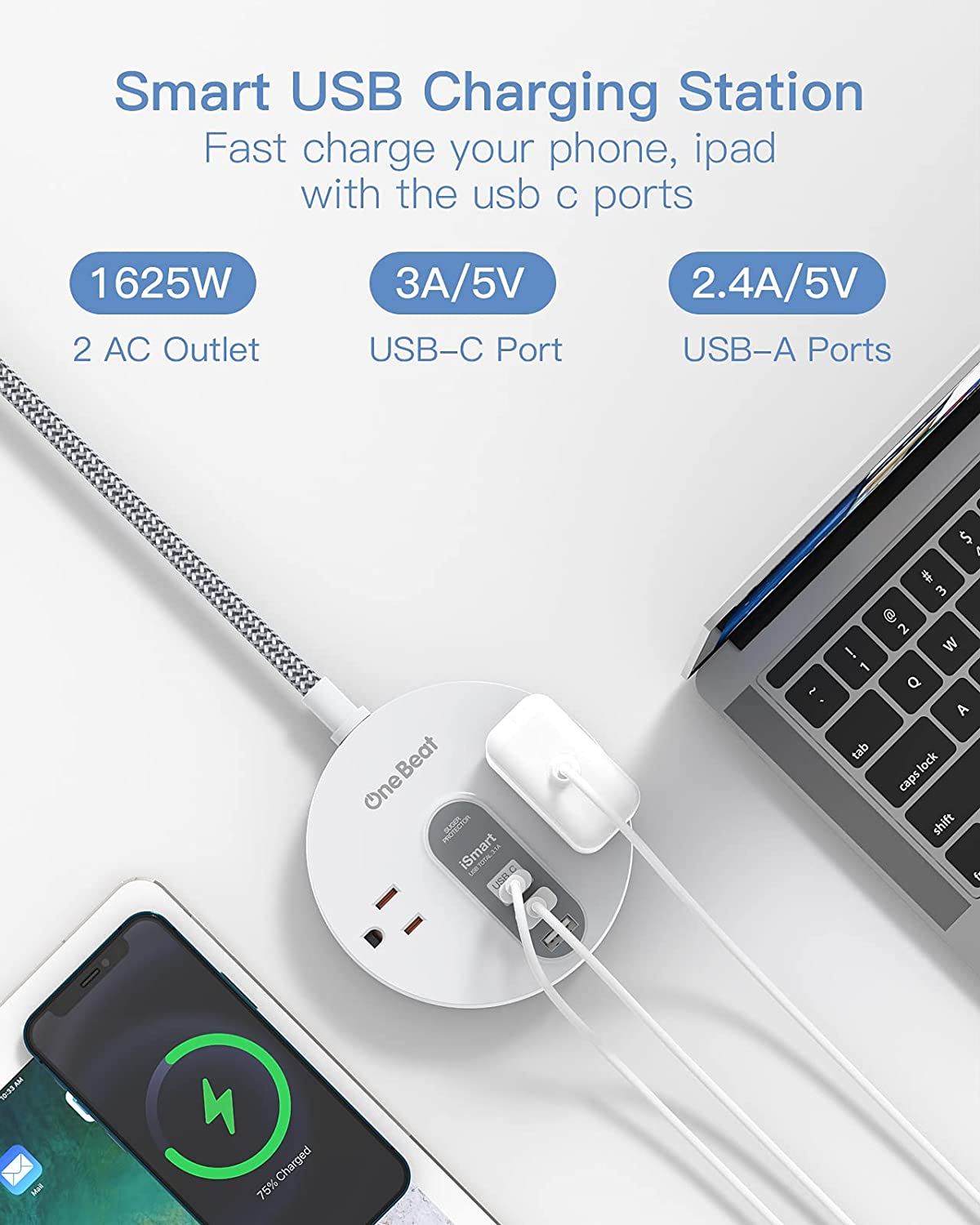Power Strip Surge Protector with USB C - Extension Cord Flat Plug with 2 Widely AC Outlet and 3 USB, Small Desktop Charging Station with 5 ft Power Cord, Compact for Travel, Home and Office (490J)