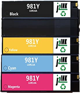 J2INK 4 Pack 981Y High Yield PageWide Ink Cartridge Black Cyan Magenta Yellow LOR16A LOR13A LOR14A LOR15A