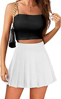 Womens Mini Pleated Skirt High Waisted Skater Tennis Skirts Skorts with Shorts School Girl Uniform