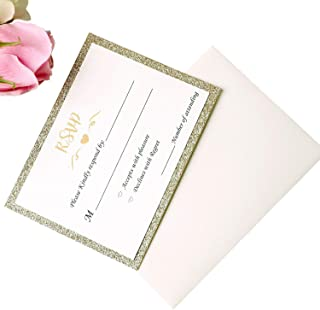 PONATIA 25PCS 5.12 x 7.1 '' Laser Cut Wedding Invitations Cards with Envelopes for Wedding Bridal Shower Engagement Birthday Invite (Champagne Gold RSVP)