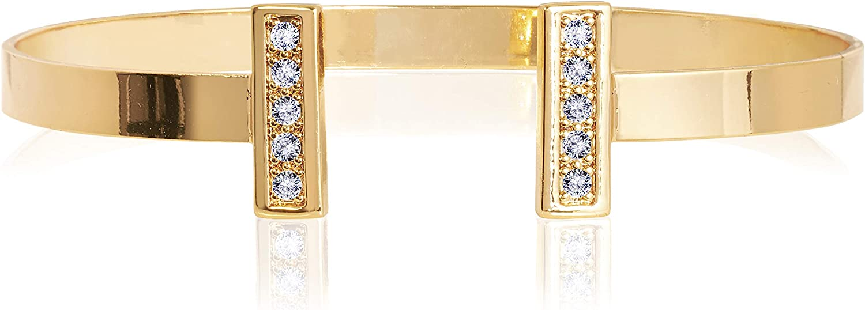 KATIE LOXTON Aztek Womens Gold Plated Cuff Bangle Bracelet Shimmer Bar