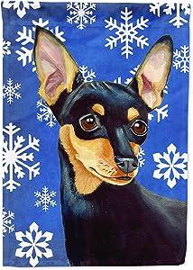 Caroline's Treasures LH9290GF Min Pin Winter Snowflakes Holiday Flag Garden Size, Small, Multicolor