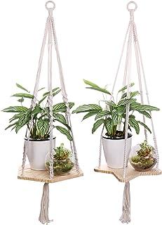 Pots de bois massif /étag/ère /à suspendre Suspension pour plante macram/é /à suspendre 29cm flottante /étag/ères paniers pour plantes dint/érieur//ext/érieur Home Decor support de pot de fleurs