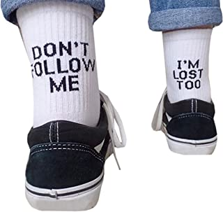 Qrupoad Women Novelty Funny Cool Tube Crew Socks Don't Follow Me I'm Lost Too
