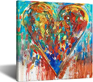 VividHome Colorful Love Heart Canvas Wall Art Abstract Romantic Artwork for Bedroom Contemporary Paintings Framed and Stretched Ready to Hang 24x24 Inch