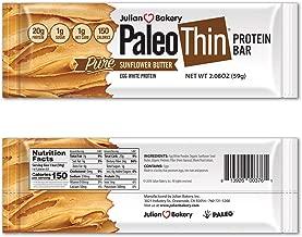 Julian Bakery Paleo Thin® Protein Bar (Sunflower Butter) (150 Cal)(20g Protein)(Egg White)(1 Net Carb)(4 Ingredients)(1g Sugar)(10 Bars)