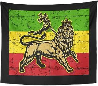 Emvency Tapestry Green Rasta Lion of Judah Flag Red Reggae Jamaica Home Decor Wall Hanging for Living Room Bedroom Dorm 50x60 Inches