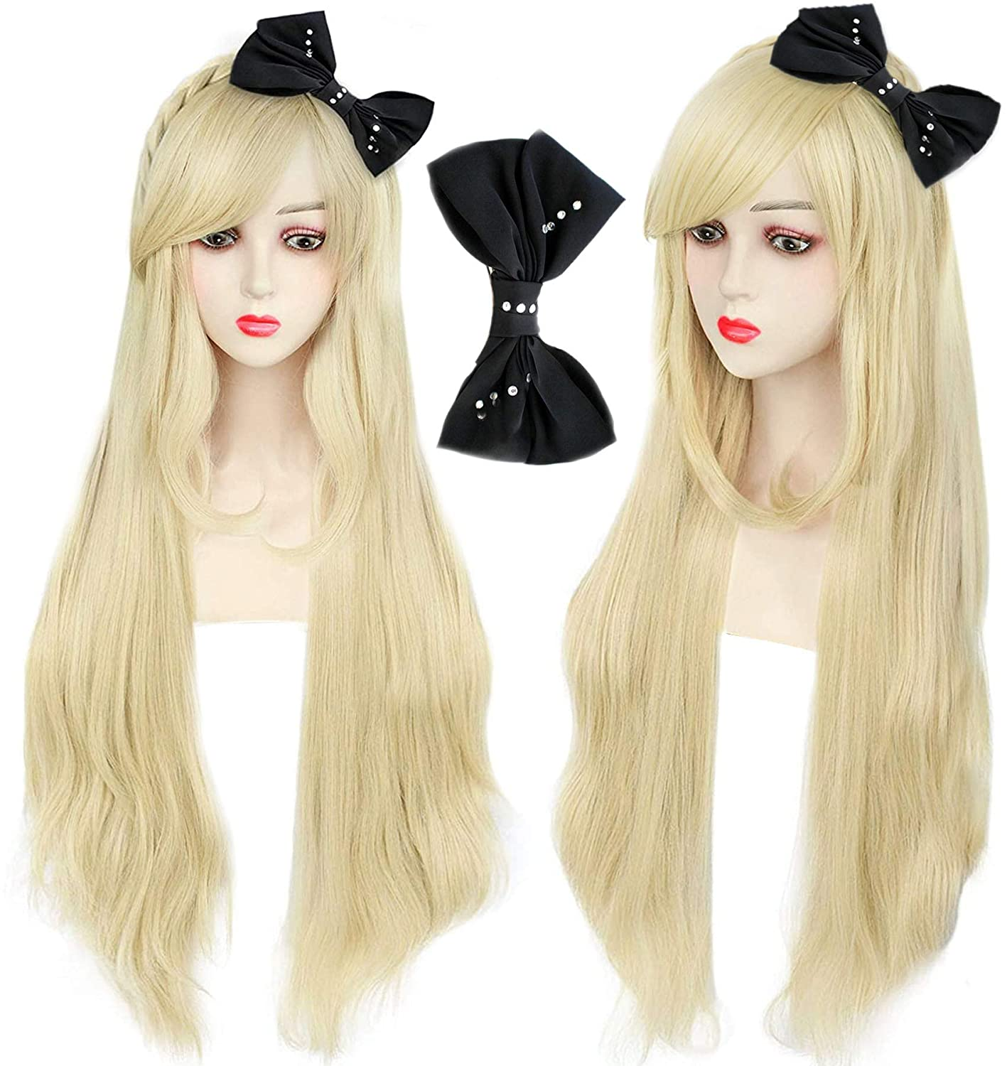 Denver Mall IMEYLE New product type Wig(1 Black Bow)Golden Costume H Wig Party with