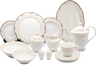 Royalty Porcelain Vintage Antique Gold 57-pc Dinnerware Set 'Sandra', Premium Bone China