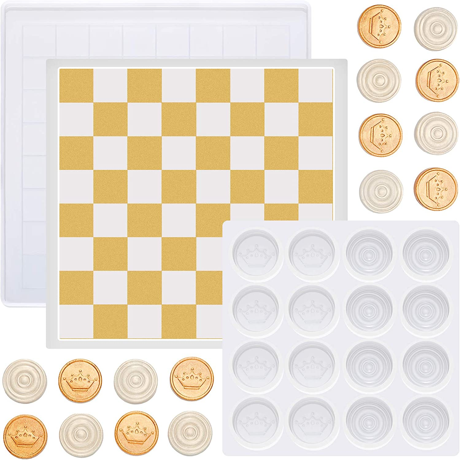 2 Pieces Chess Resin Molds Epoxy Silicone Set Board Max Memphis Mall 70% OFF