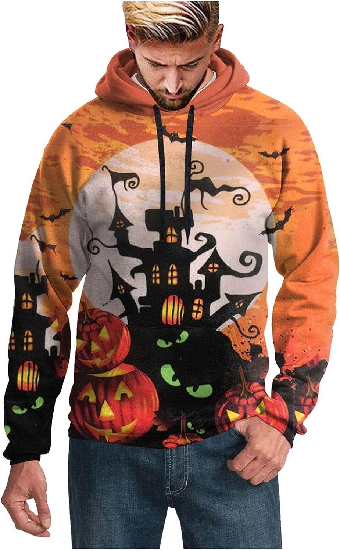 Aayomet Halloween Hoodies for Men Kanga Pocket Evil 3D Full Pattern Pullover Sweatshirts Long Sleeve Unisex Shirts