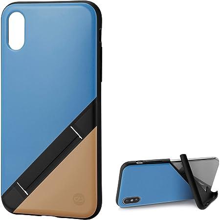 カンピーノ campino スマホケース iPhone XS ケース iPhone X ケース 対応 バイカラー OLE stand スタンド機能 耐衝撃 スリム 薄型 動画 Qi ワイヤレス充電対応 スカイ ブルー × サンド ベージュ 青