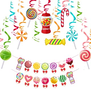 YiiiGoood Colorful Candy Party Decoration Kit Candy Lollipop Hanging Swirls & Banner Set CandyLand Party for Girls Kids Bi...