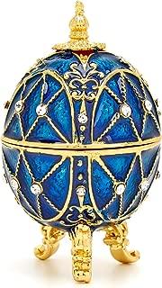 PAIQ Royal Blue Faberge Egg Handmade Unique Gift Decorative Trinket Box Collectible Figurine Home Decor