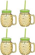 BarCraft Glassware Pineapple Drinking Glass Jar Tumbler Set of 4 400ml 13.52fl oz