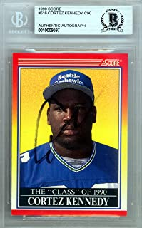 Cortez Kennedy Autographed 1990 Score Rookie Card #616 Seattle Seahawks Beckett BAS #10009597