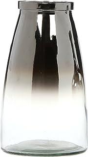 "Hosley Silver Glass Flower Vase - 10.25"" High. Ideal Weddings, Bridal, Spa, Meditation, Reiki, Rose Vase, Nautical Setting..."