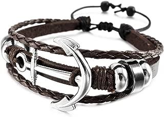 Aleación Genuina Cuero Pulsera Brazalete Brazalete Manguito Cable Cuerda Ancla Náutico Tablista Envolver Wrap Ajustable Hombre,Mujer
