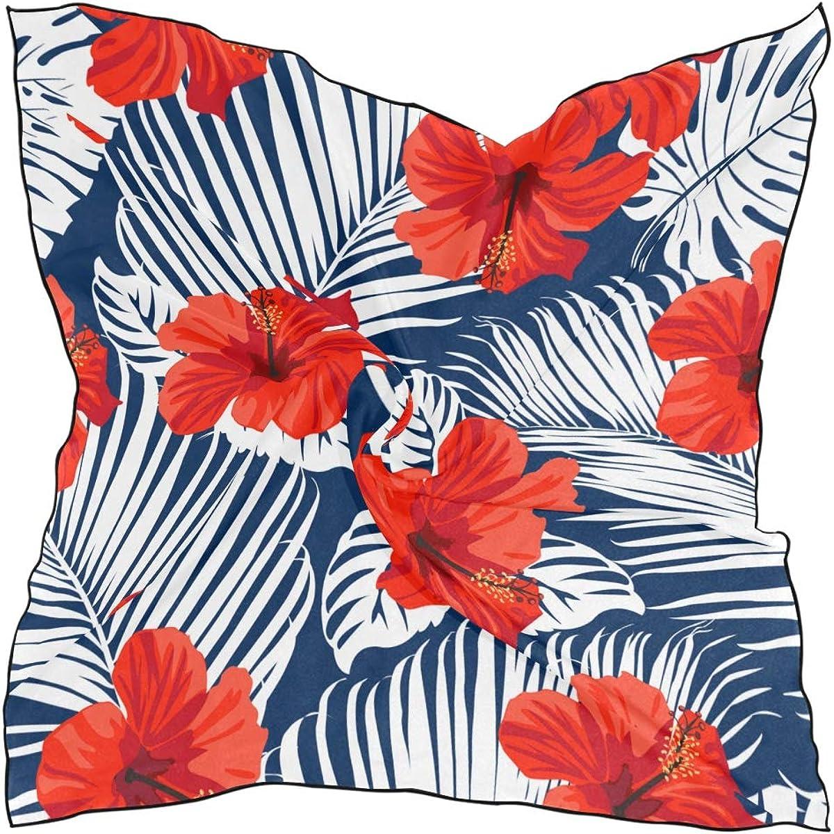 Women's Soft Polyester Silk Square Scarf Hawaiian Flower Vintage Romantic Summer Fashion Print Head & Hair Scarf Neckerchief Accessory-23.6x23.6 Inch