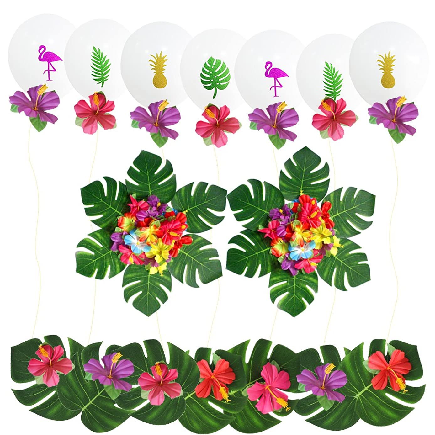 Hawaii Tropical Themed Party Supplies, 24 Pcs Hot Tropical Artificial Flowers and 30 Pcs Leaves Flamingo Latex Balloons Decoration Kit for Hawaii Luau Summer Beach Garland Birthday Party Supplies