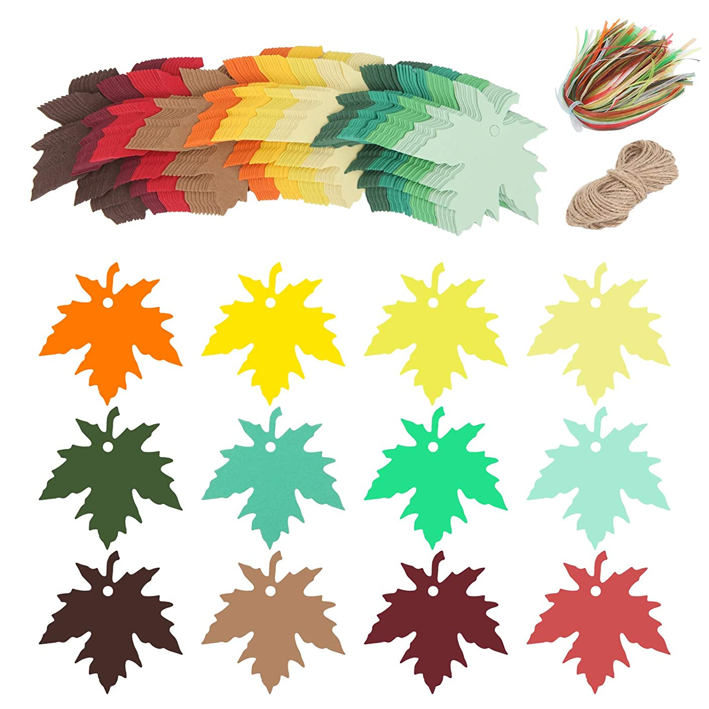 Soonow Maple Leaves Paper Gifts Tags - 120 Pcs Favor Hang Tags Name Tags with Strings for Baby Show Birthday Party Wedding Favors Tags, Ribbons and 65 Feet Jute Twine Included