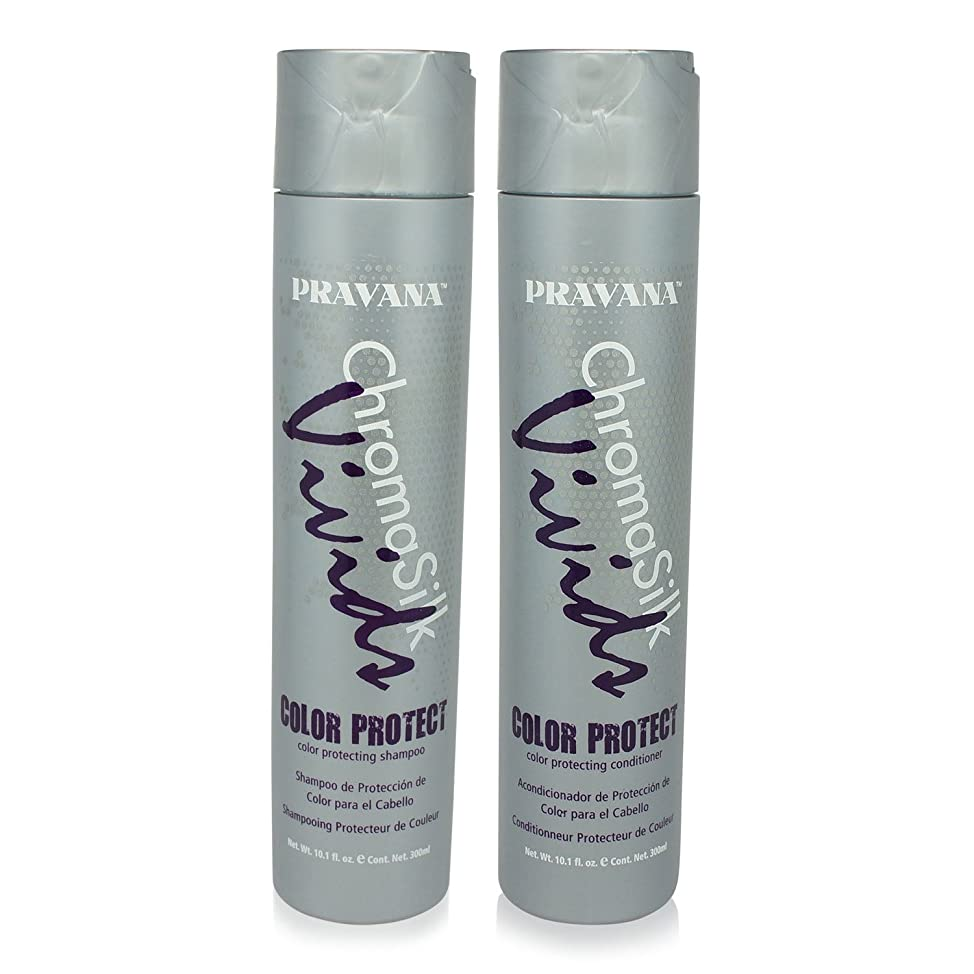 PRAVANA CHROMASILK VIVIDS COLOR PROTECTING SHAMPOO & CONDITIONER SET 10.1oz Each by Pravana