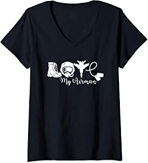 Womens Love My Airman - Proud Mom Wife Girlfriend Family Air Force V-Neck T-Shirt