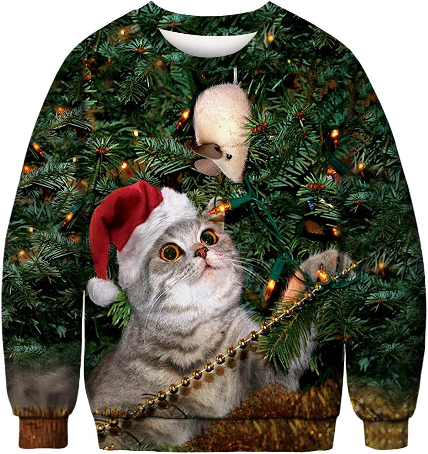 Christmas Clothes, Autumn and Winter Round Neck Long Sleeve Christmas 3D Print Fashion Cute Ladies Clothing