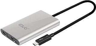 Club3D SenseVision Mac/Windows両対応 Thunderbolt 3 to DisplayPort 1.2 Dual Monitor 4K 60Hz デュアル ディスプレイ 分配ハブ (CSV-1577)