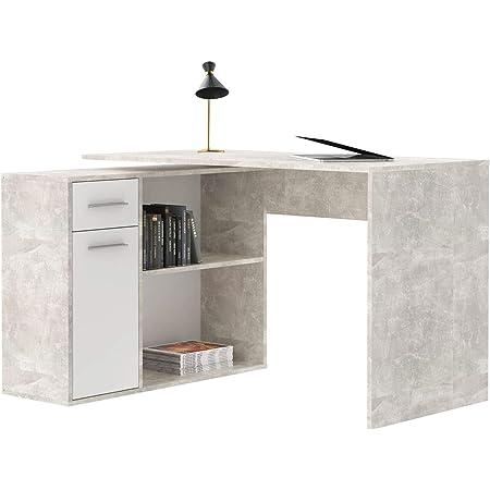 Bureau d'angle Isotta Table avec Meuble de Rangement intégré et modulable avec 2 étagères 1 Porte et 1 tiroir, en mélaminé décor béton et Blanc Mat