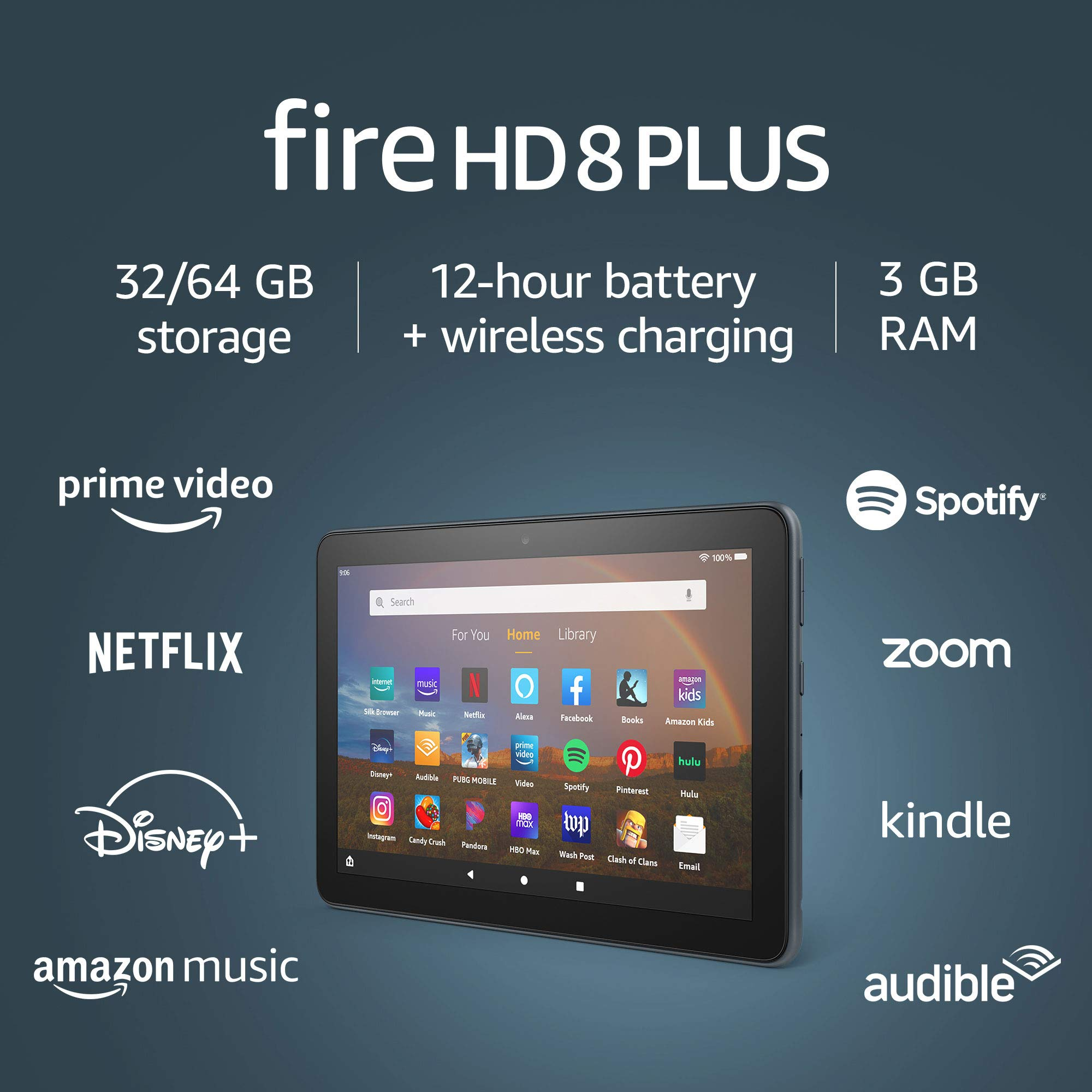 """Fire HD 8 Plus tablet, HD display, 64 GB, latest model (2020 release), our best 8"""" tablet for portable entertainment, Slate, without lockscreen ads"""