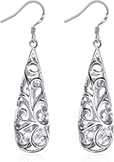 Earrings, 925 Sterling Silver Hollowed-Out Drop Earrings J.Rosée Fine Jewelry for Women Water Drop Best Gift for her