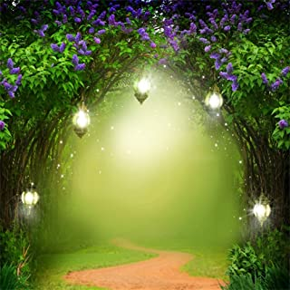 OFILA Seamless Fairy Forest Backdrop 10x10ft Magic Trees Elf Enchanted Garden Theme Baby Shower Party Kids Fantasy Wonderland Birthday Photos Little Girls Princess Portraits Toddlers Shoots Video Prop