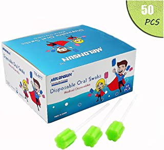 Disposable Oral Swabs, Individually Wrapped Mouth Swabs Sponge,(50PCS, green)